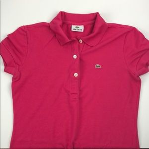 Lacoste Pink Short Sleeve Polo Dress 36 small
